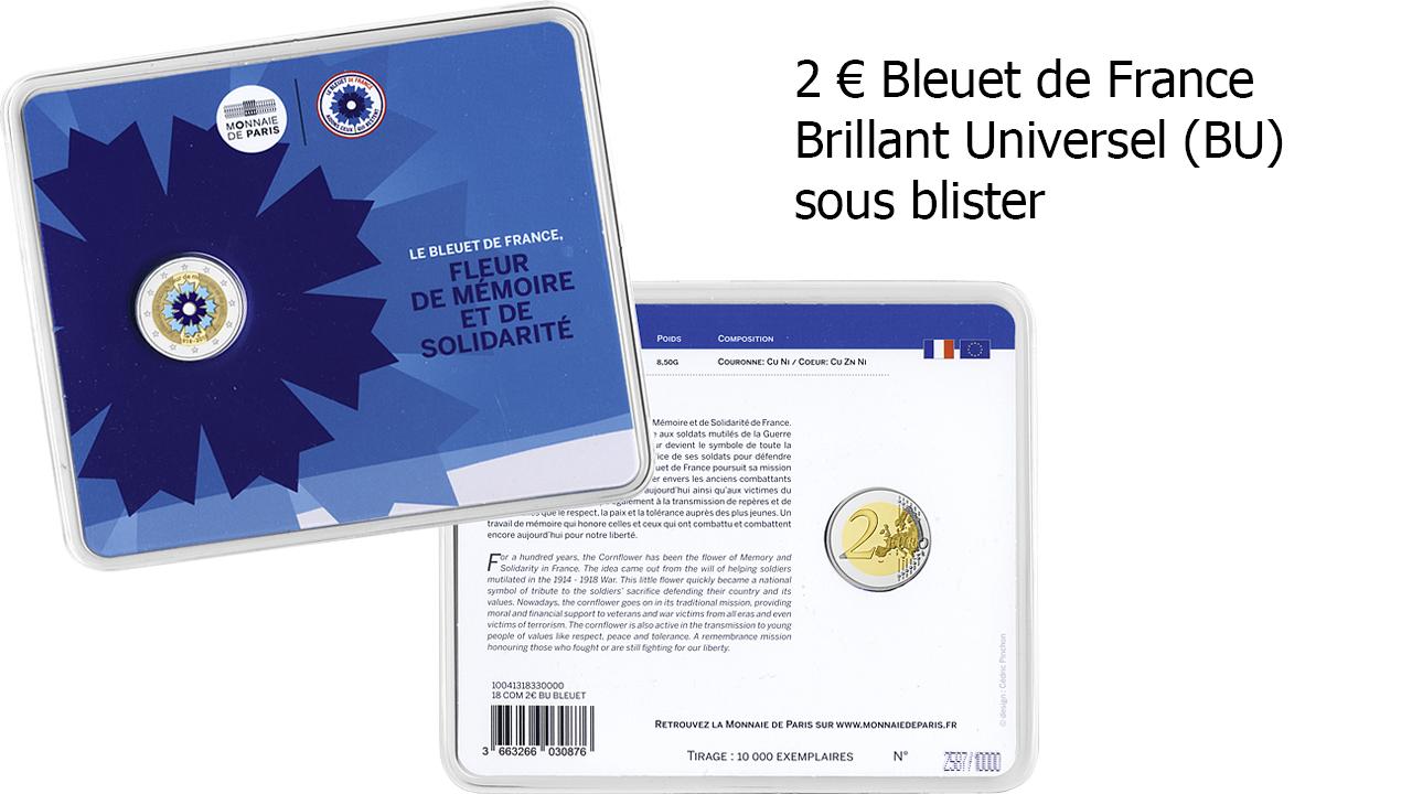 Pièce de 2 euro Bleuet sous blister