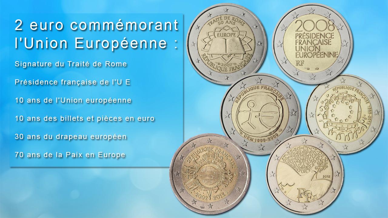 Pièces 2 euro commémoratives célébrant l'Europe