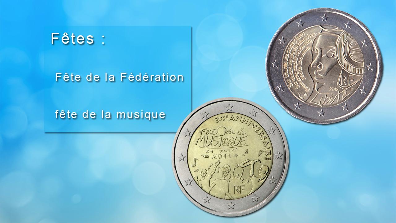 Pièces 2 euro commémoratives sur les fêtes