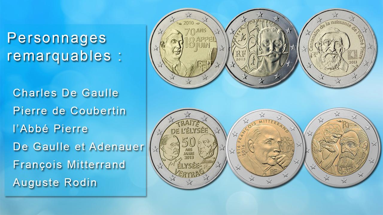 Pièces 2 euro commémoratives sur les personnages célèbres