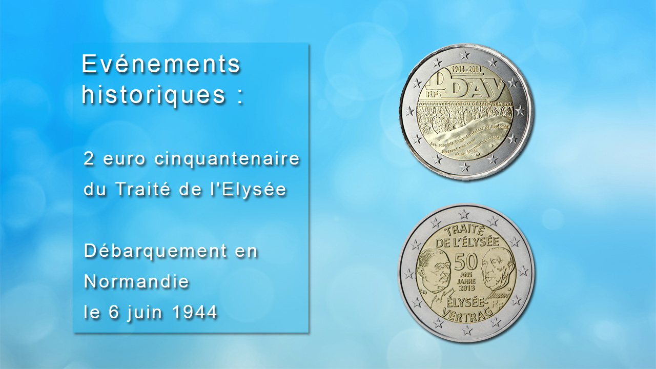 Pièces 2 euro commémorant des évènements historiques
