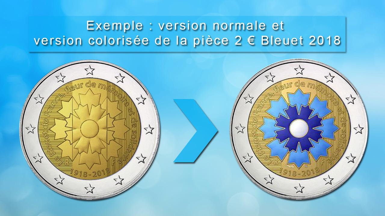 Exemple de pièces de 2 euro commémorative colorisée