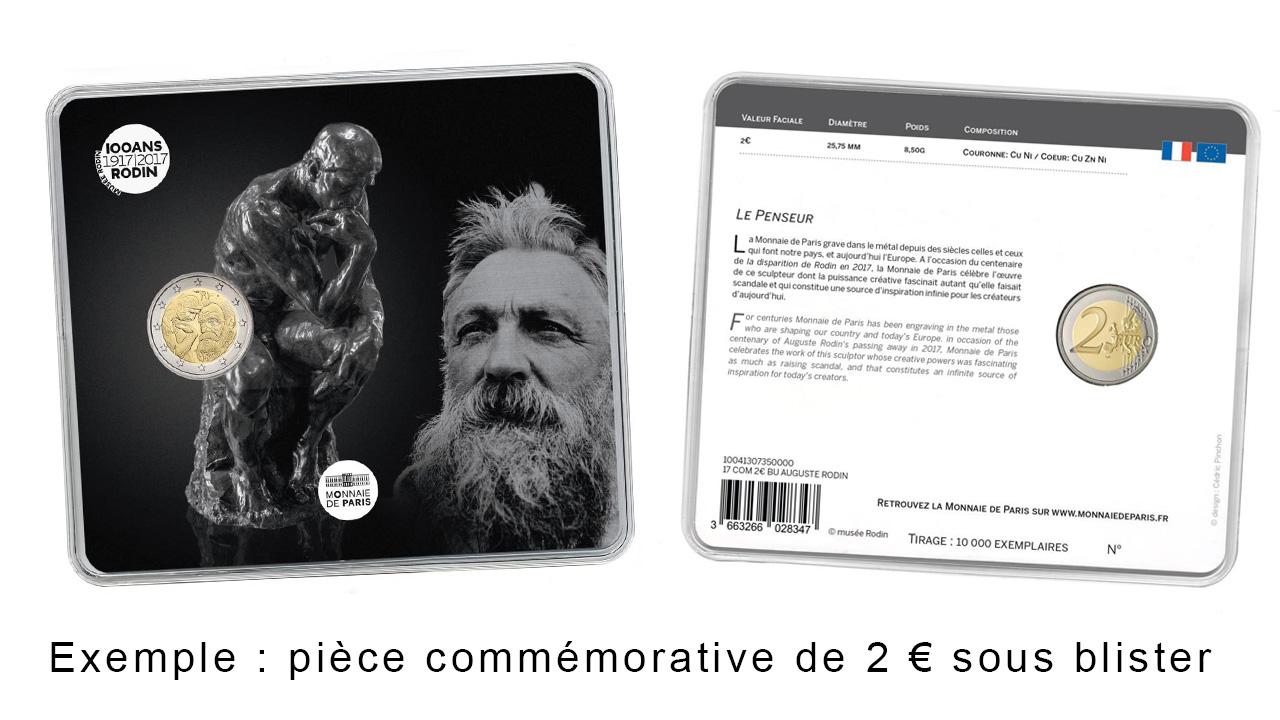 Exemple de pièces de 2 euro commémorative sous blister