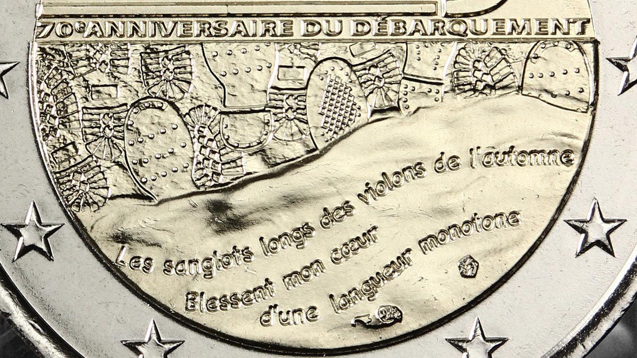 Gros plan de l'avers de la pièce 2 euro D Day 1944