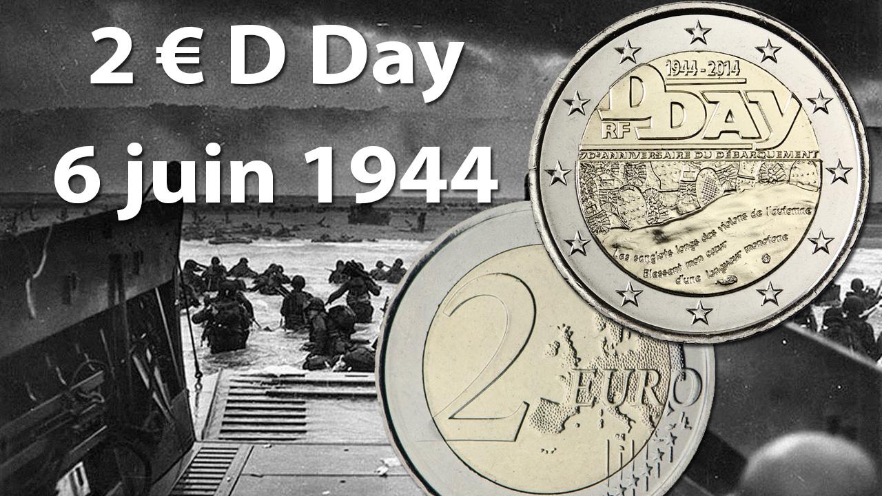 Photo de la pièce de 2 euro D Day 6 juin 1944