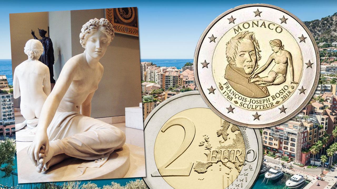 Nymphe Salmacis sur la pièce de 2 euro commémorative de Monaco 2018