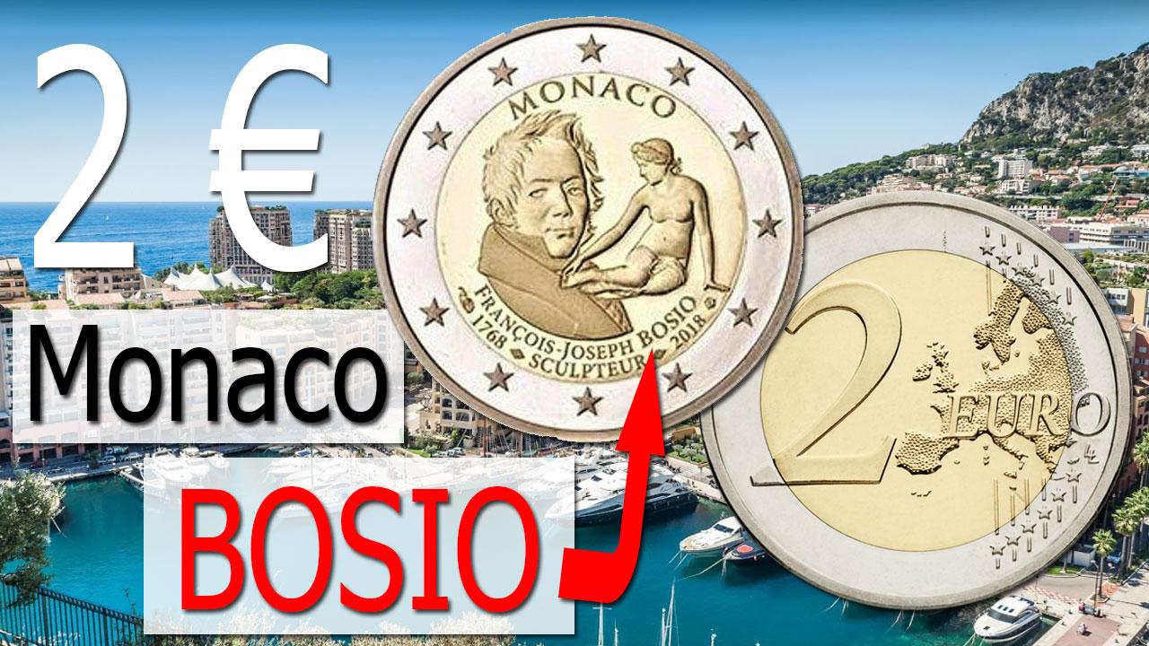 Photo de la nouvelle pièce commémorative de 2 euro Monaco 2018 Bosio