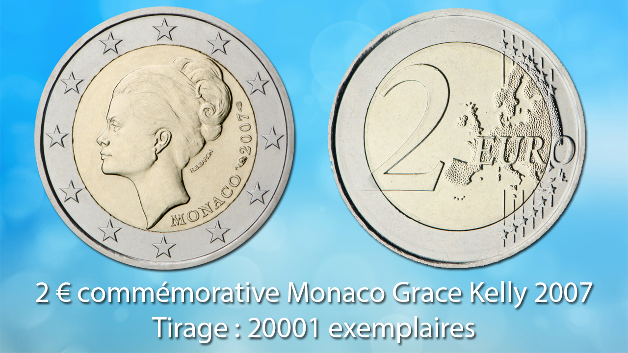 Photo avers et revers de la pièce de 2 euro commémorative Monaco 2007 Grace Kelly