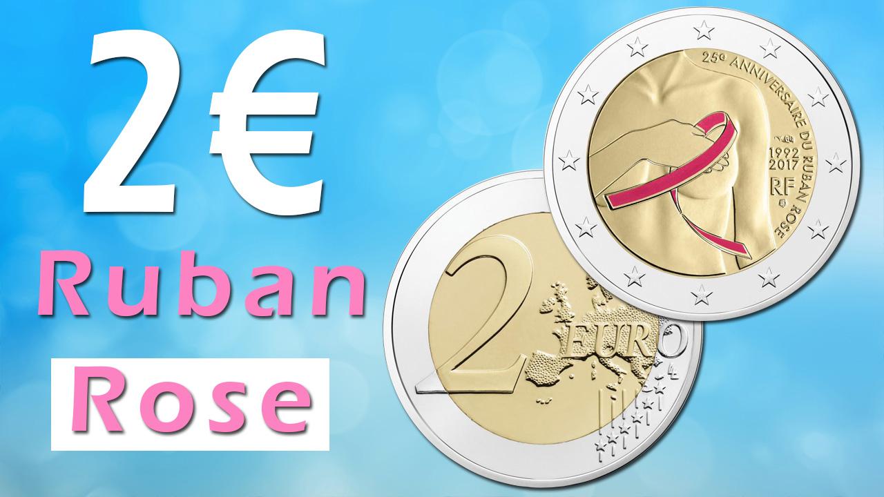 Photo de la pièce de 2 euro ruban rose colorisée
