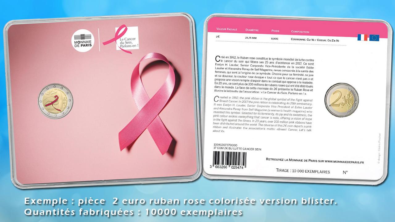 Exemple de pièce de 2 euro ruban rose sous blister