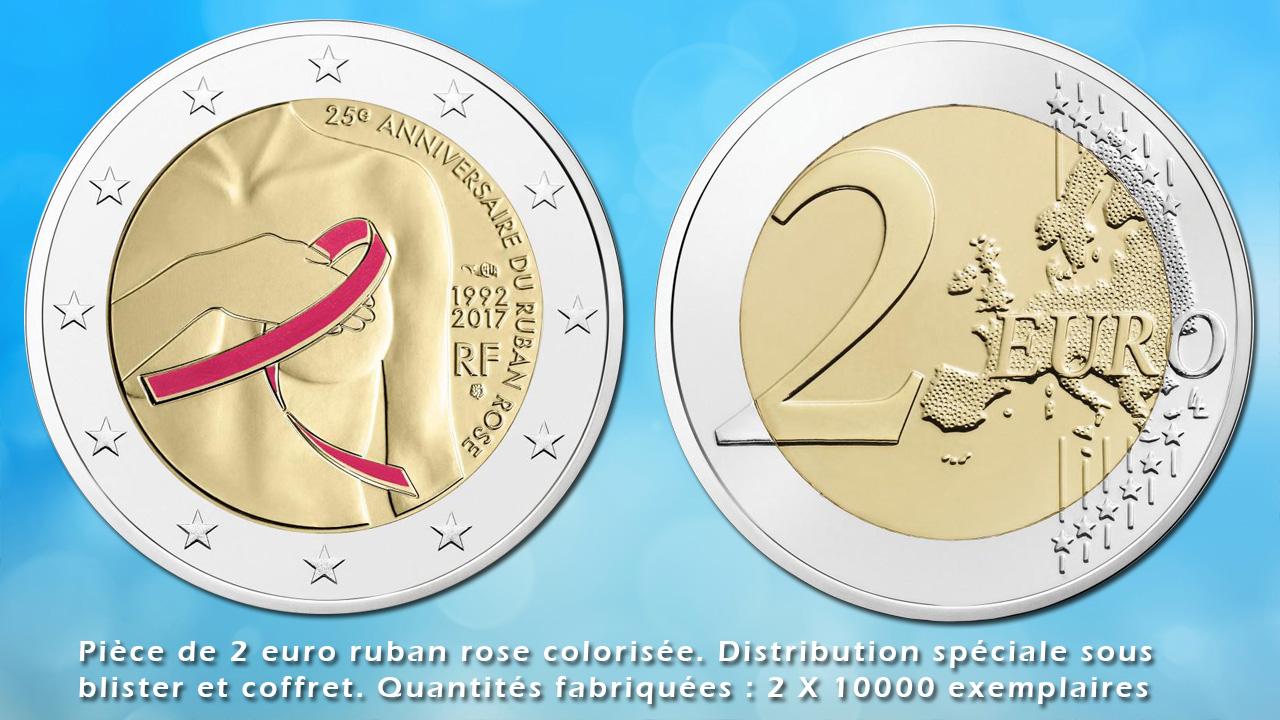 Pièce de 2  euro ruban rose colorisée