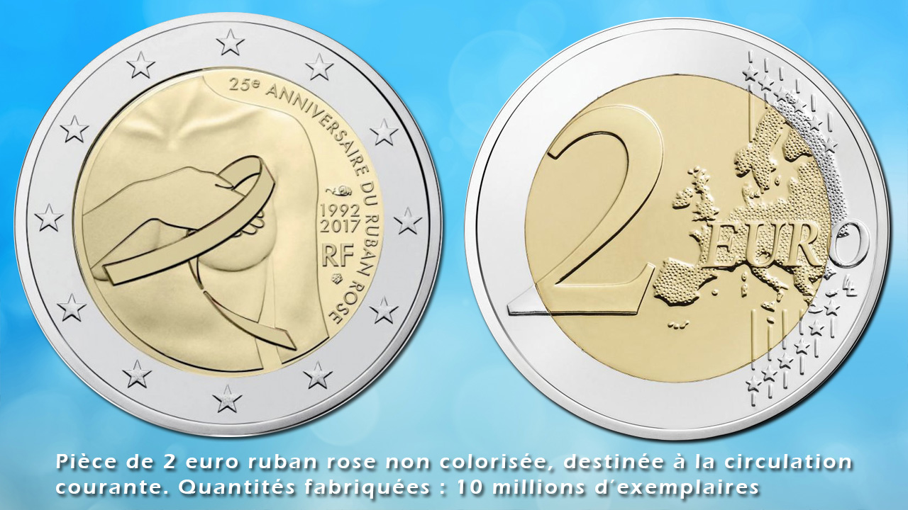 Pièce de 2 euro ruban rose non colorisée