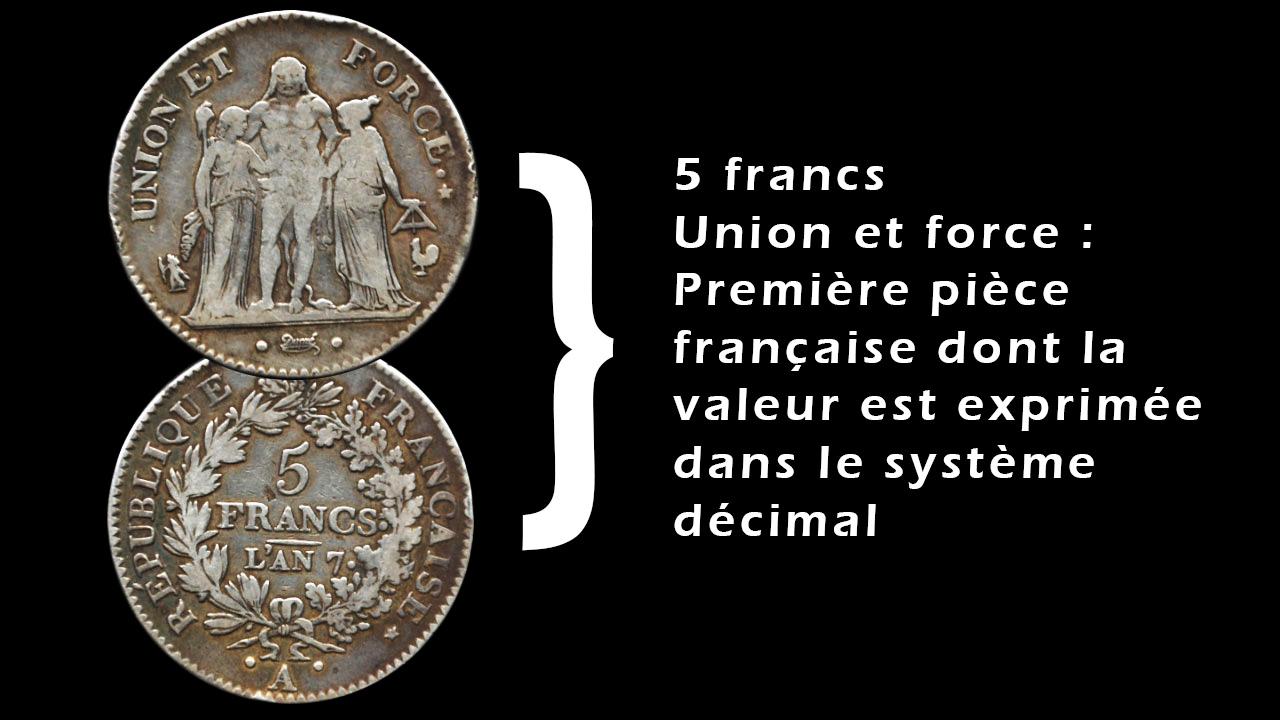 La première pièce française dans le système décimal