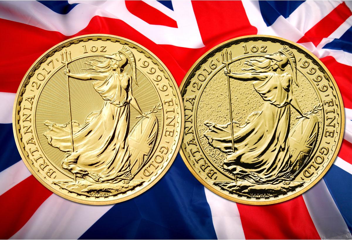 Photo des pièces d'or 1 once Britannia 2017 et 2016