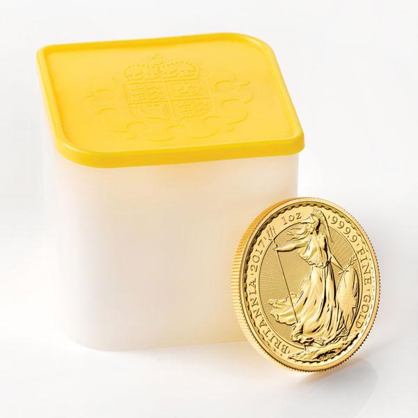 Tube de 10 pièces d'or d'une once Britannia