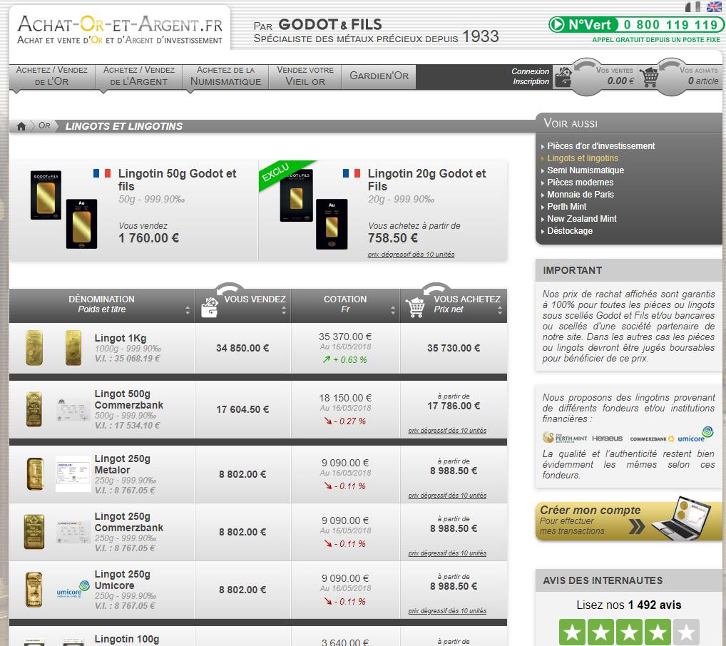Acheter des lingots d'or