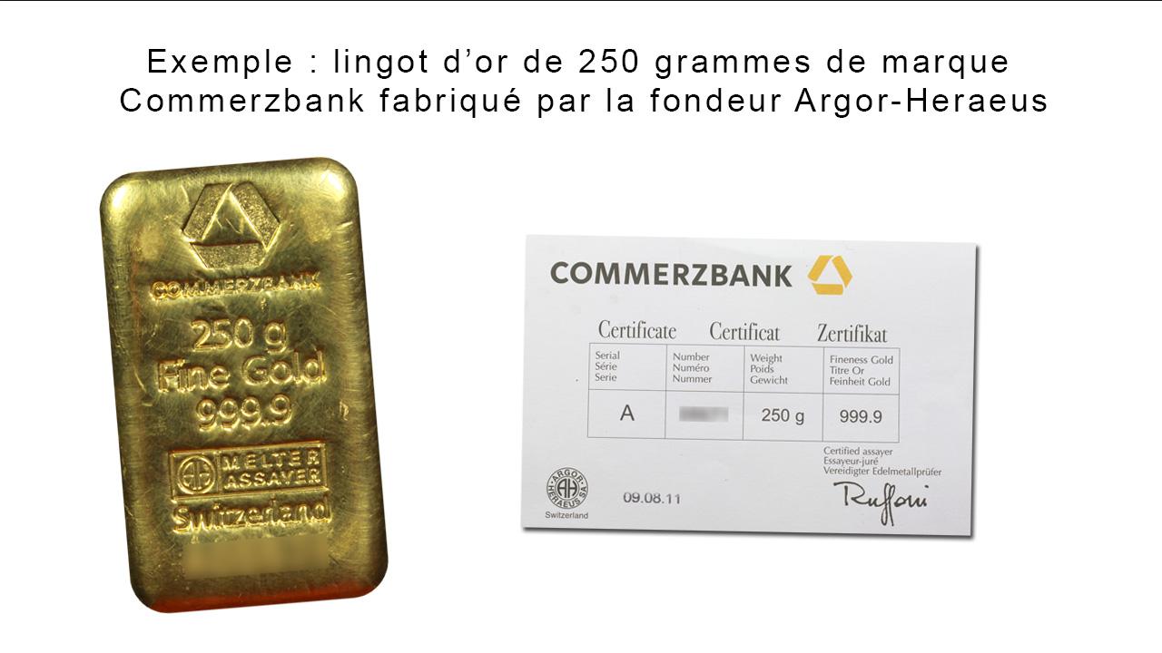 Exemple de lingot d'or de marque Commerzbank