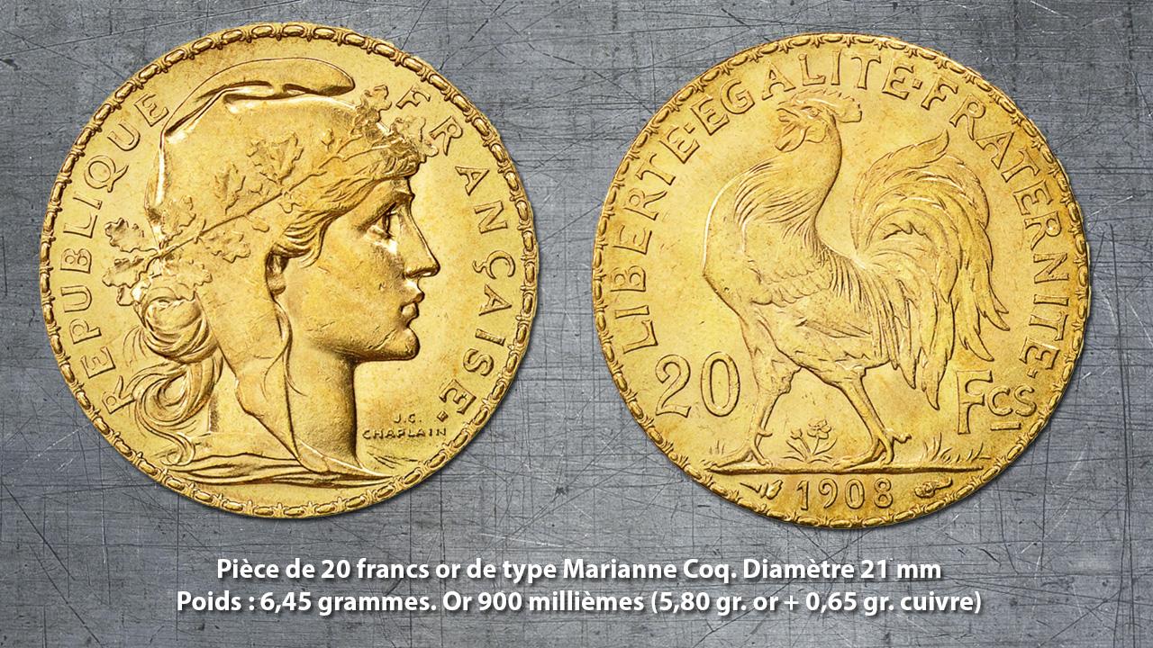 Exemple de pièces d'or française : la pièce de 20 francs or Marianne Coq