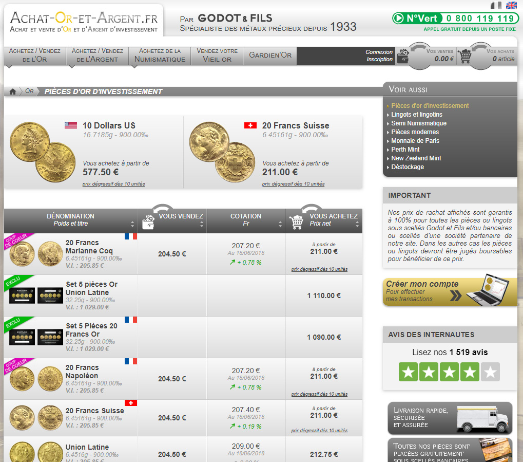 Acheter des pièces d'or d'investissement