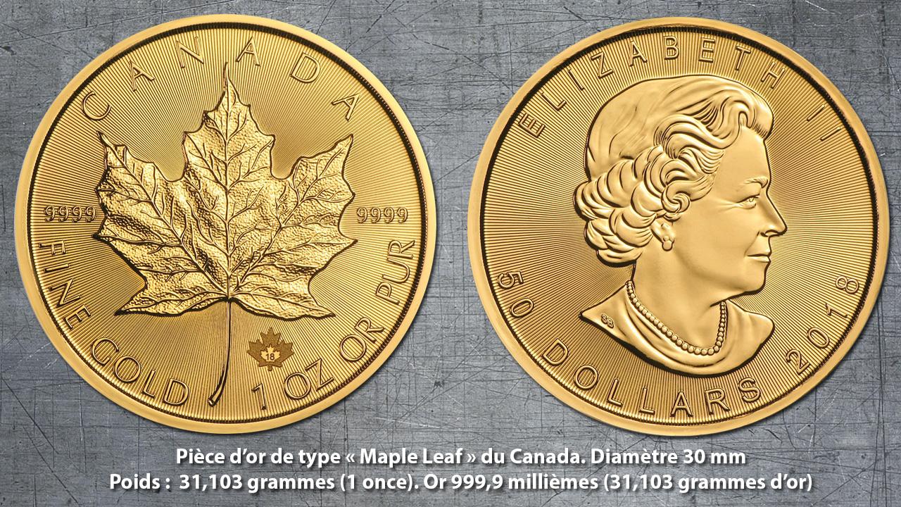 Exemple de pièce d'or d'investissement moderne : la Maple Leaf d'une once du Canada
