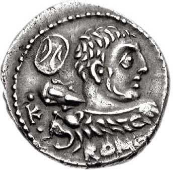 Hercule jeune sur un denier romain
