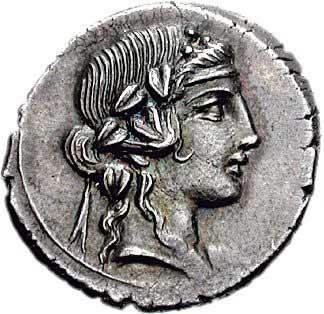 Bacchus ou Liber sur un denier romain