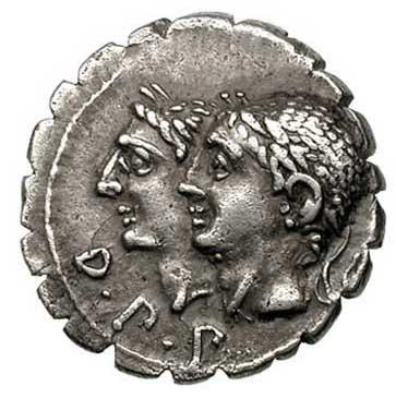 Dieux Pénates sur un denier romain