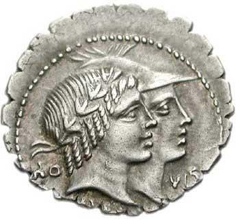 Honos et Virtus sur un denier romain