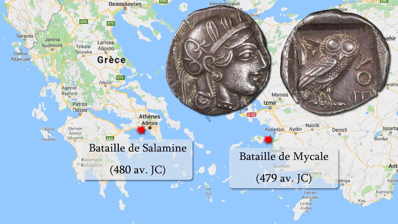 Carte : les batailles de Salamine et Mycale