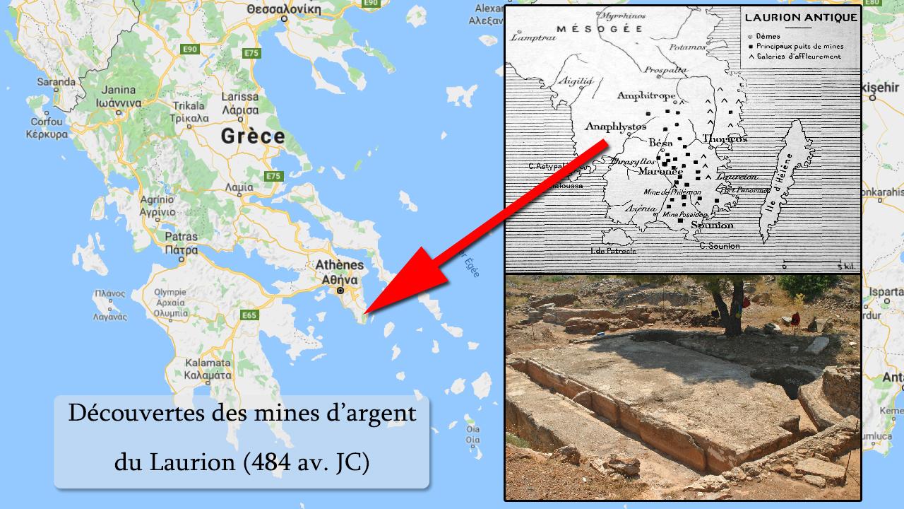 Découverte des mines d'argent du Laurion