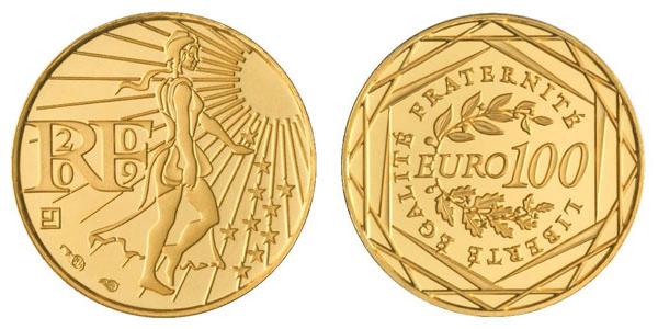 100 euro or semeuse 2009
