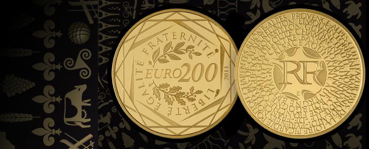Photo de la nouvelle pièce de 200 euros des régions en or