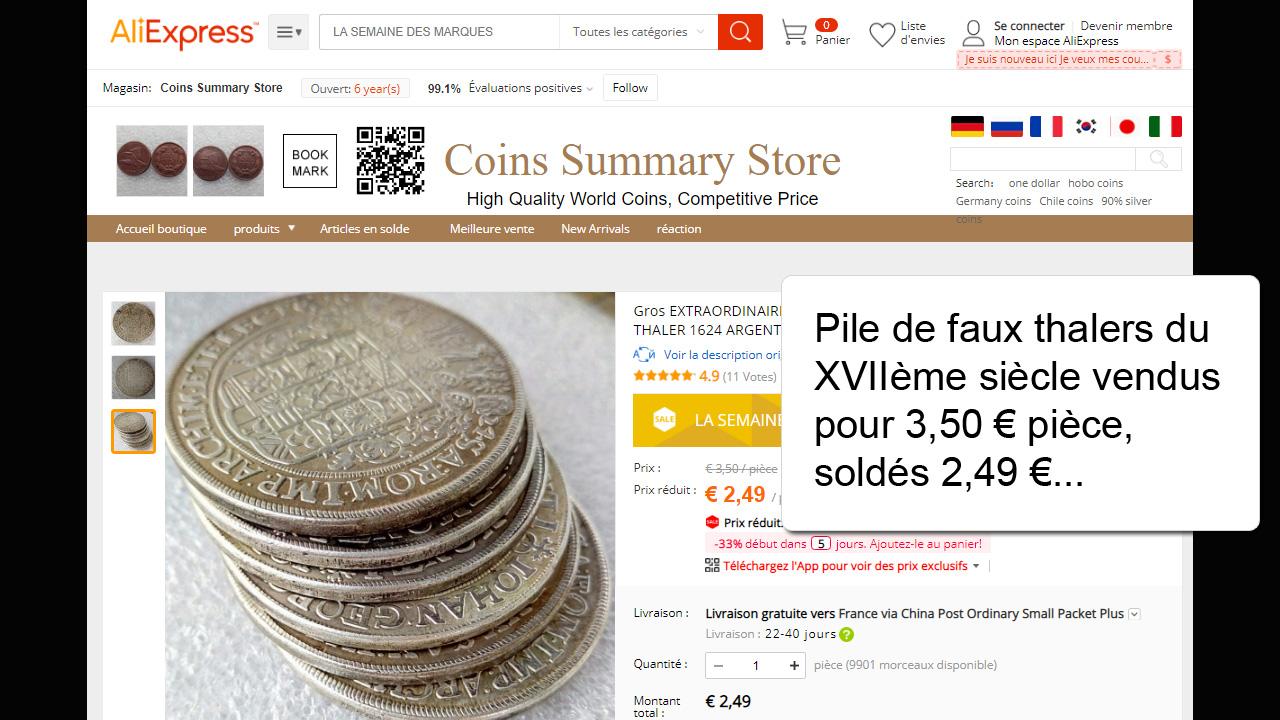 Copies de monnaies rares du XVIIème siècle