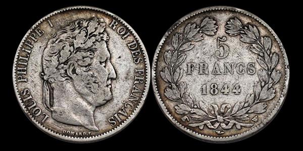 5 francs argent Louis Philippe Tête laurée
