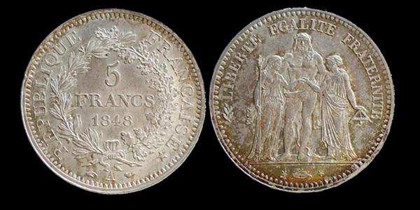 5 francs argent IIème République