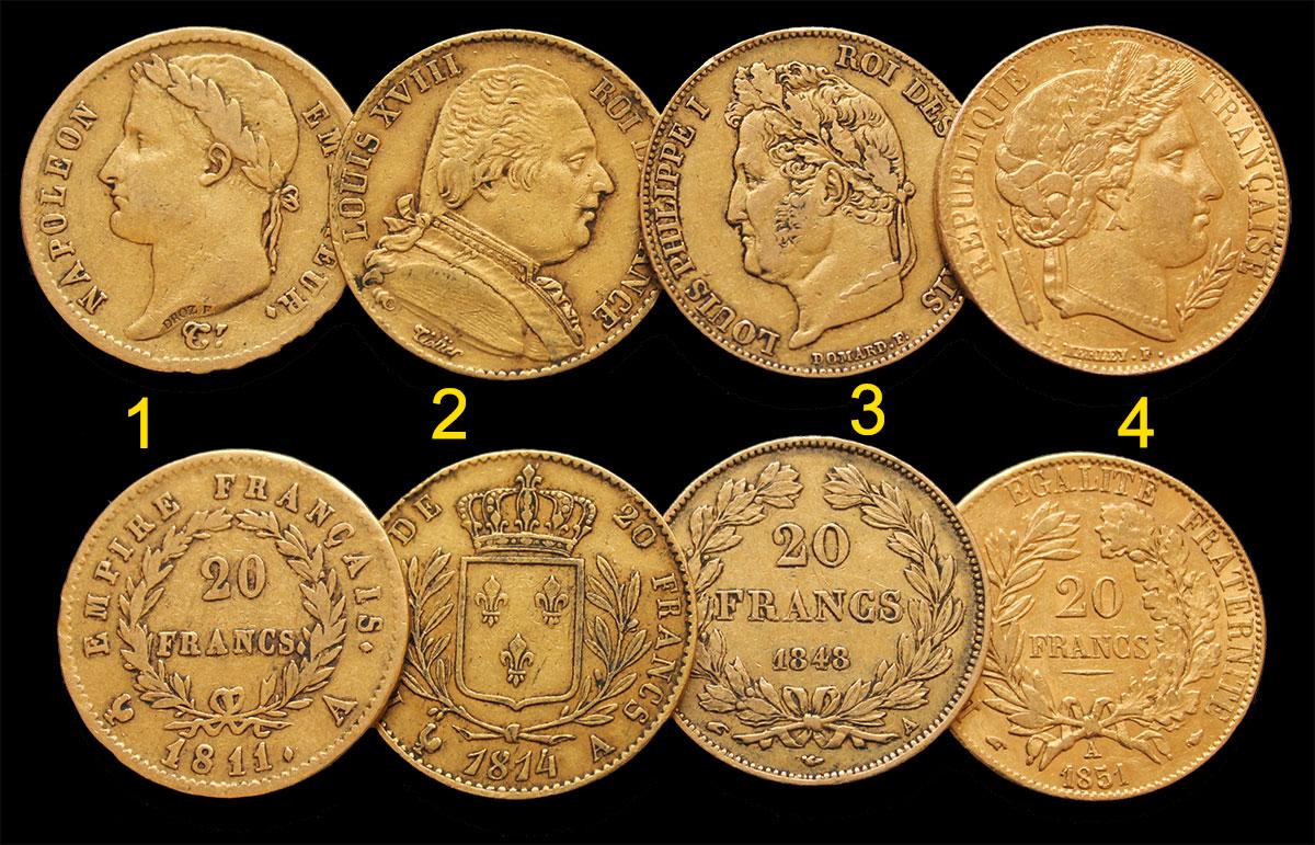 Photo des 4 nouvelles pièces d'or de type Napoléon en vente : de gauche à droite 20 francs or Napoléon Ier, 20 francs or Louis XVIII, 20 francs or Louis Philippe, 20 francs or Cérès