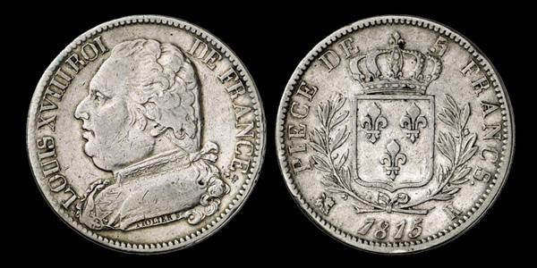 5 francs argent Louis XVIII Buste habillé