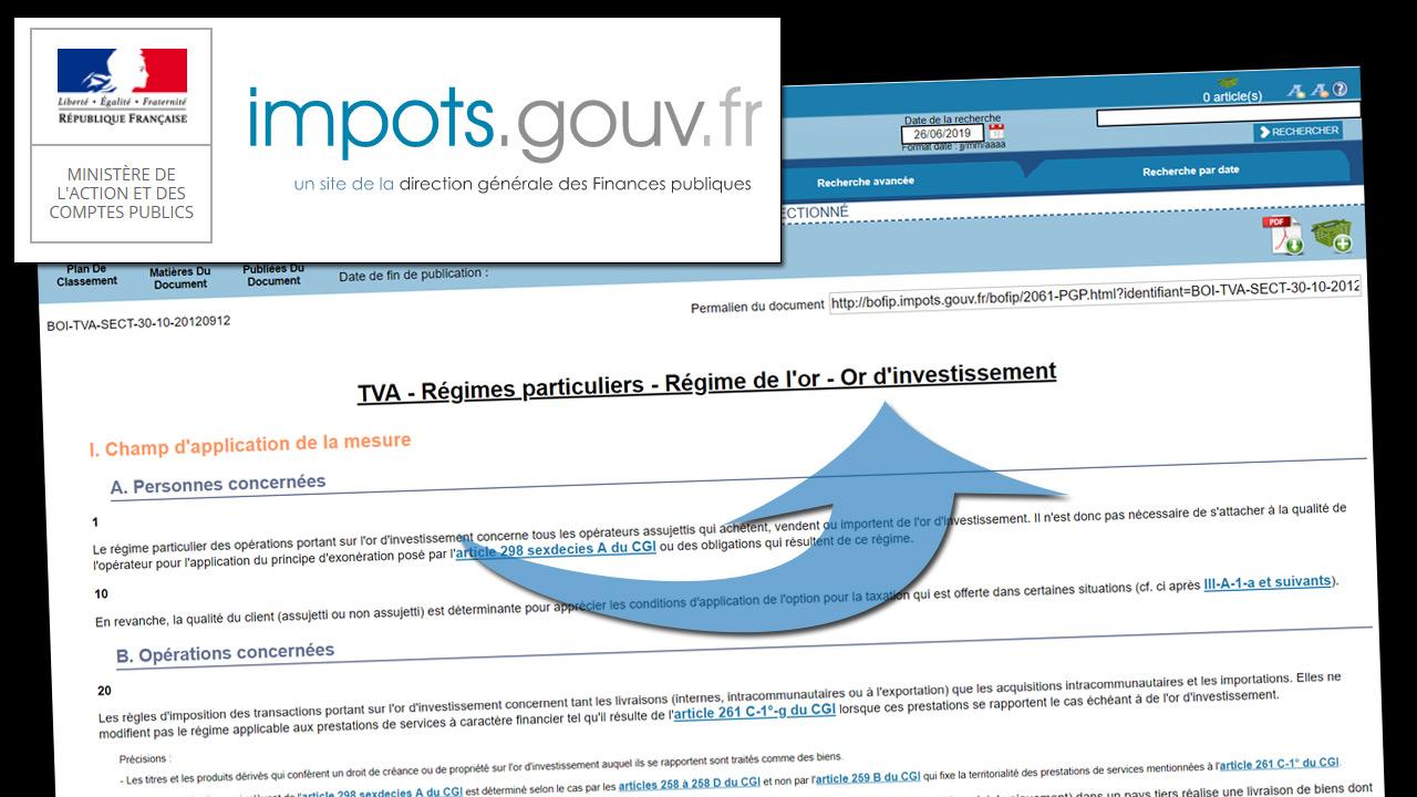 Capture d'écran du site officiel des impôts qui définit les pièces d'or d'investissement