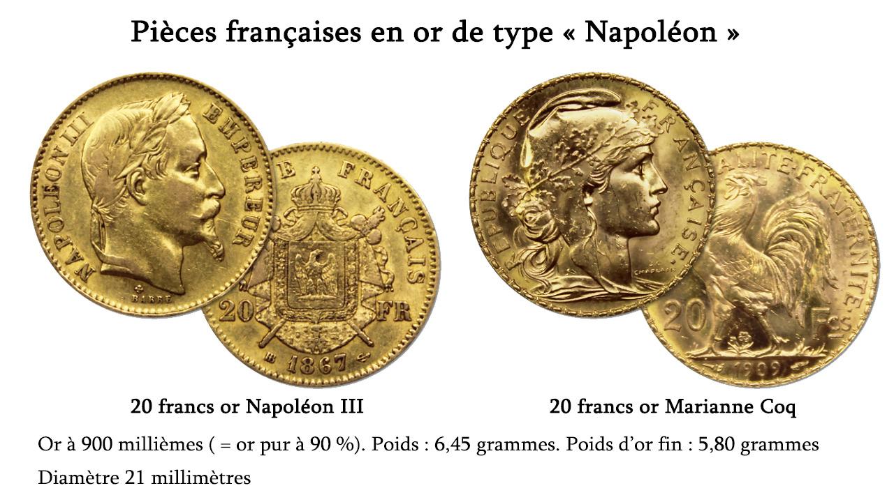 2 pièces d'or de type Napoléon classiques : la pièce de 20 francs or Napoléon III et la pièce d'or 20 francs Coq