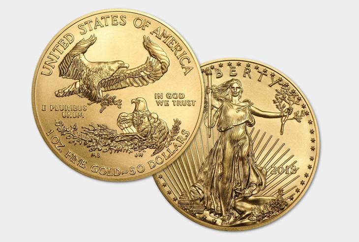 Une des pièces d'or d'investissement les plus vendues dans le monde : la pièce 50 dollars American Eagle des Etats-Unis