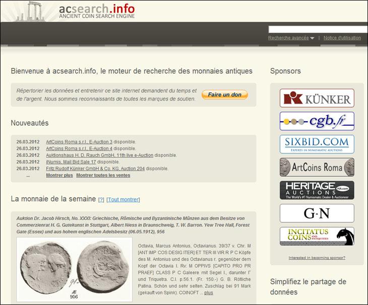 acsearch.info, site spécialisé dans l'identification des monnaies romaines et antiques