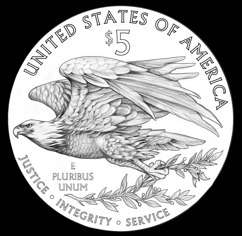 Nouveau dessin du revers de la pièce d'argent américaine Silver Eagle