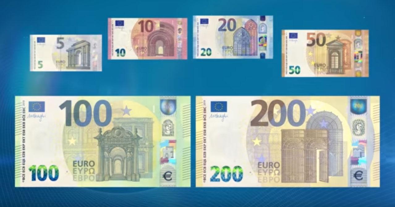 Série complète de billets Europa, dont les nouveaux billets de 100 et 200 euro