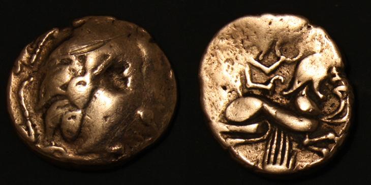 Pictons, statère d'or bas titre dit à la main