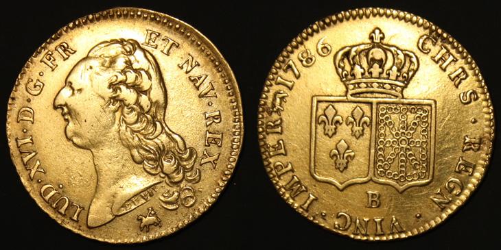 Double Louis d'or de Louis XVI 1786 B
