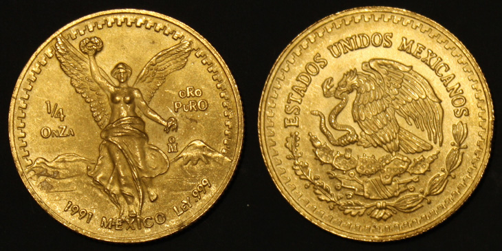 1/4 d'once d'or pur Mexique 1991
