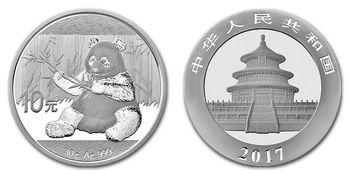 Photo de la pièce d'argent d'une once Panda de Chine 2017