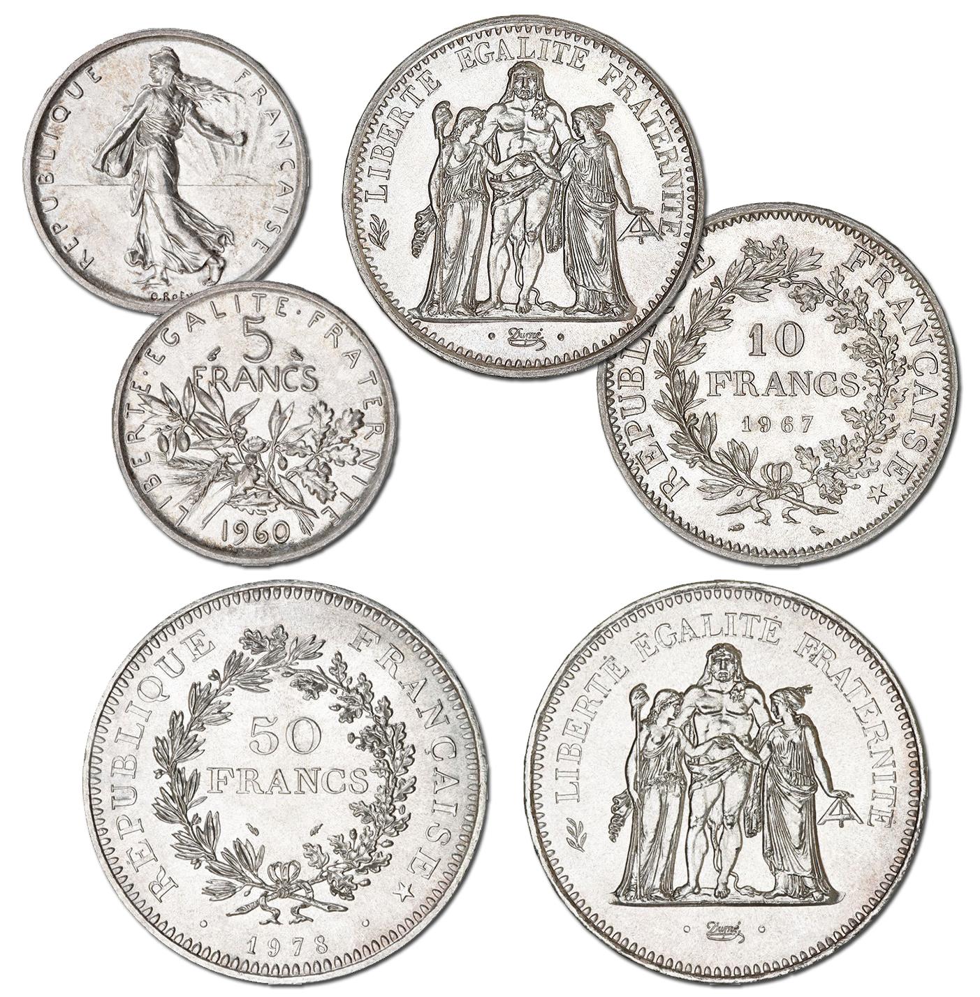 Photo des pièces d'argent de 5 francs Semeuse, 10 francs Hercule et 50 francs Hercule