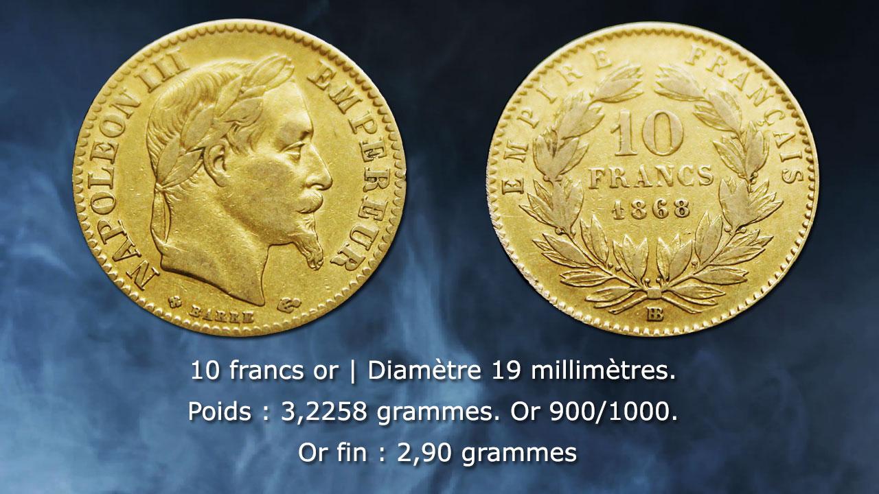 Caractéristiques techniques des pièces de 10 francs or