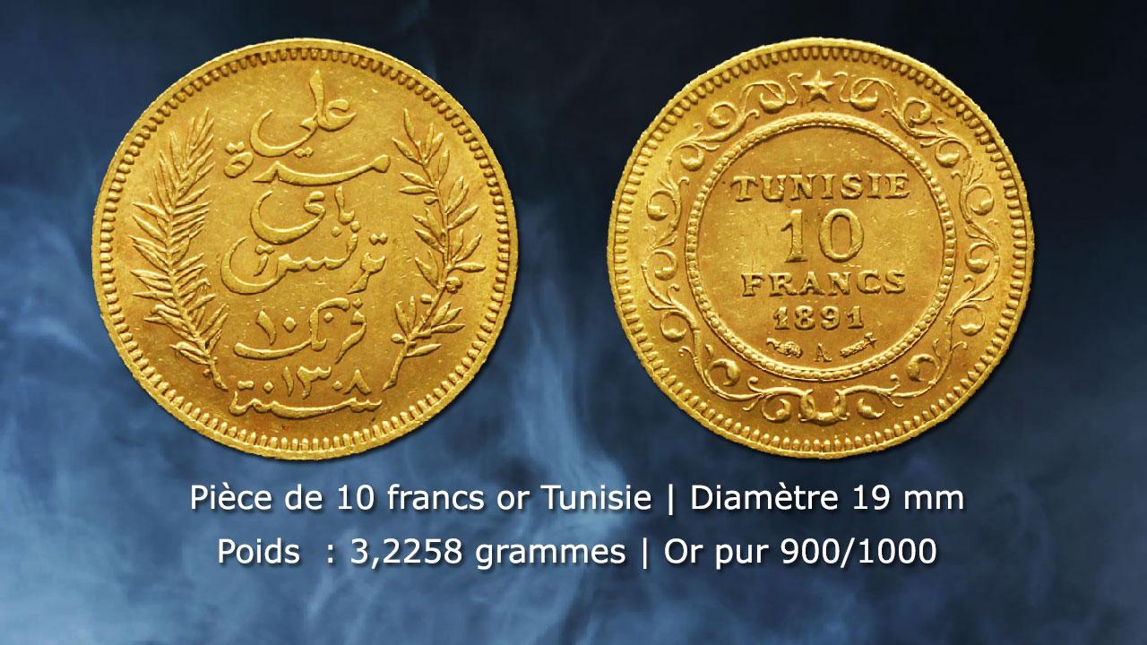 Pièce de 10 francs or Tunisie